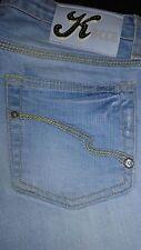 Kocca jeans donna 27 celeste con strass slim elasticizzato low waist