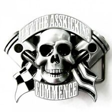 lighter buckle with Skull & Piston, Biker, Hot Rod, Belt buckle