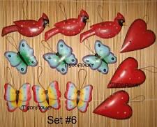 12 Christmas Ornaments Metal Heart Bird Butterflies 3D Tin Paint both side Set 6