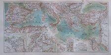 LÄNDER MITTELMEER 1894 alte Landkarte Lithographie antique map Marokko Spanien