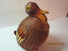 Vintage Wicker Animal-Duck Basket-Wood Neck, Bill, Tail & Feet-Well Constructed