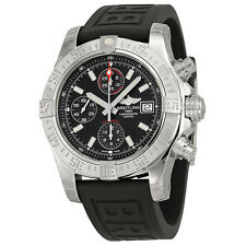 Breitling  Avenger II Automatic Black Dial Black Rubber Mens Watch