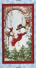 """23"""" Fabric Panel - Timeless Treasures Christmas Country Snowman Wallhanging"""