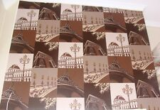 Paris Theme Wallpaper Chocolate moose brown with Gold highlights Eiffel Tower