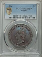 1862 Liberia 2 Cents PCGS PR 64 BN, Scarce Date in Proof