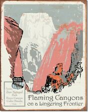 Union Pacific Flaming Canyons TIN SIGN wall decor vtg railroad ad poster #1542