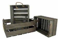 Rustic Wooden Crates 3 x Shabby Grey Brown Wood Rope Storage Boxes Display Box