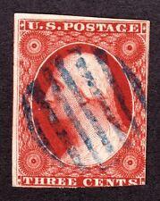 US 10a 3c Washington Used F w/ Blue Grid Cancel SCV $160