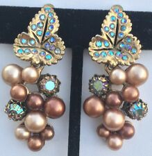 Exquisite Big Vintage Schiaparelli Earrings~Pearls/RS/GoldTone~Long Dangle Style