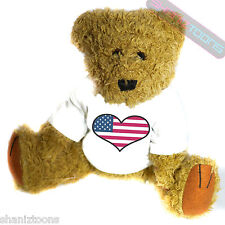 USA United States Love Heart Flag Mascot Novelty Gift Teddy Bear