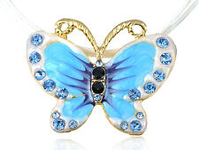 Painted Enamel Colorful Blue Crystal Rhinestones Butterfly Pendant Rope Necklace