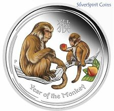 2016 YEAR OF THE MONKEY COLOURED 1oz Silver Proof Coin from the Perth Mint