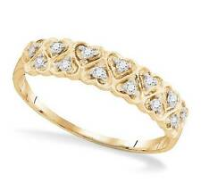 Adorable! 100% 10K Yellow Gold White Diamond Heart Cluster Ring Band .10ct