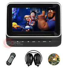 "Universal Clip-On Car DVD/SD/USB 7"" HD Headrest Screen Monitor Games Headphones"