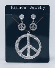Hippie 60s 70s Peace Sign with earings Symbol Boho Costume Jewellery Necklace
