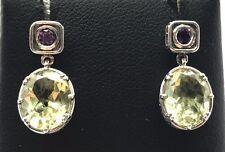 Sterling Silver Oval Green Peridot / Amethyst Pattern Drop Dangle Post Earrings