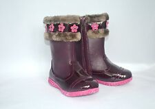 Laura Ashley Toddler Girls Boots SIZE 6 Burgundy Faux Fur Pink Flovers Zipper