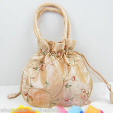 Fashion Women's Beige Silk Embroidered Floral Drawstring Cosmetic Bag