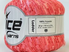 Light Salmon Pink Ladder Ribbon Yarn Ice Pink Trellis Railroad Ribbon 22896 164Y