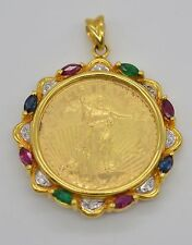 #JC115 1/4 OZ FINE GOLD LIBERTY LADY 1997 COIN 14K DIAMOND BEZEL PENDANT
