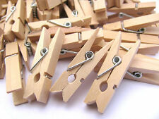 35mm 50 Mini Natural Wooden Craft Pegs Clothes Paper Photo Hanging Spring Clips