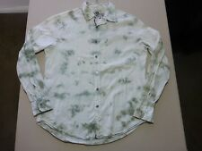 085 MENS NWOT GUESS WHITE STRIPE / SAGE TIE DYE EFFECT L/S SHIRT LRG $130.