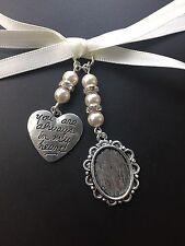 Bouquet della Sposa Ovale Cornice MEMORY Charm Matrimonio con Cuore Swarovski Perline