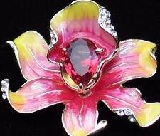 """PINK YELLOW RHINESTONE ROSE LILY IRIS ORCHID FLOWER PIN BROOCH JEWELRY 2"""" 3D"""