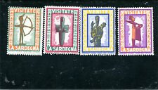 Vintage Poster Stamp Label set of 4 VISITATE LA SARDEGNA Sardinia Italy