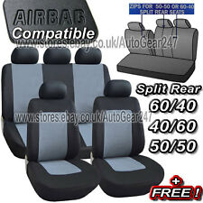 11pc Black Grey Air Bag Friendly 5 Headrest Split Rear Car Full Seat Covers Set
