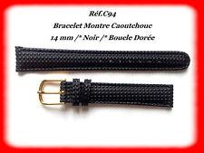 BRACELET MONTRE CAOUTCHOUC /* NOIR /* 14 mm /* REF.C94