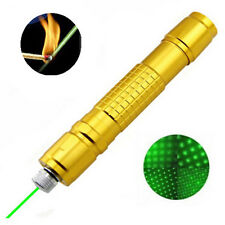 Gold 2000M Adjustable Focus Green Laser Pointer Pen 532nm Burning + 5mW Star Cap