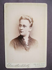 Vintage Cabinet Card Photo Woman Maggie Brasington Merry Xmas Philadelphia, PA.