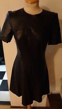 Women's ZARA Stunning Fitted Faux Leather Dress Black Size Medium
