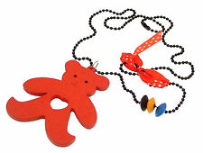 Kids Jewellery Long black ball chain necklace large wooden teddy pendant Red