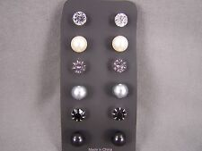 Black Grey set pack 6 pair plastic faux pearl crystal bead stud post earrings