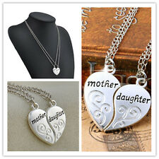 New Silver Plated Charm 2PCS Mother Daughter Flower Women Chain Pendant Necklace