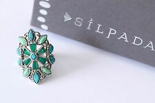 "Silpada Magnesite Turquoise Agate ""Kaleidoscope"" Sterling Ring Size 8 R2870 NEW"