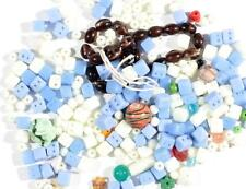 Lot (250) vintage Czech mixed blue Uranium round cube brown striped glass beads