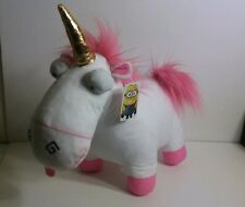 "DESPICABLE ME UNICORN PLUSH TOY AGNES FLUFFY PINK WHITE 15"" MINIONS TOY FACTORY"