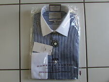 Hawes Curtis Shirt 15/35 Navy Blue Stripe White Collar Double Cuff Extra SlimFit