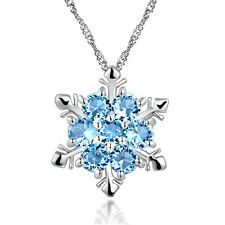 Blau Kristall Schneeflocke Frozen Blumen Silber Halskette Anhänger Xmas Geschenk