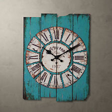 Shabby Wooden Roman Numeral Indoor Outdoor Wall Clock Distressed Cottage Chic