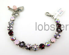 MARIANA MOSAIC SILVER BRACELET Swarovski Crystal Rosewater Pink Opal Siam Red
