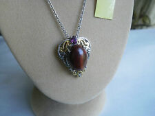 "AUS Mookaite/Garnet & Real Diamond Plat/925 18"" Heart Necklace"