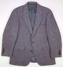 HARRIS Tweed BLAZER 39S Herringbone WOOL 2 Buttons DOMED Vented MENS Size JACKET