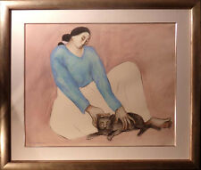 "RC Gorman ""Study of Virginia's Kitty""pastel w/New Custom Frame Make an Offer cat"