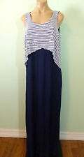 Style&Co Stretch Long Tank Dress M Blue White Striped Flap Bodice Maxi