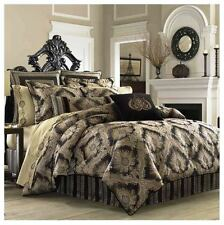J. QUEEN Onyx QUEEN COMFORTER SET Black Jacquard Floral Medallion BROWN TAUPE