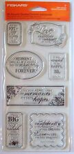 *Fiskars Clear Rubber stamp set  (ALL AROUND QUOTES  ) NIP
